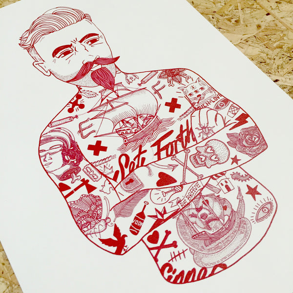 A3 Limited edition El Famaso Tattoo Print