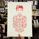 tattooed girl red risograph art print by el famoso