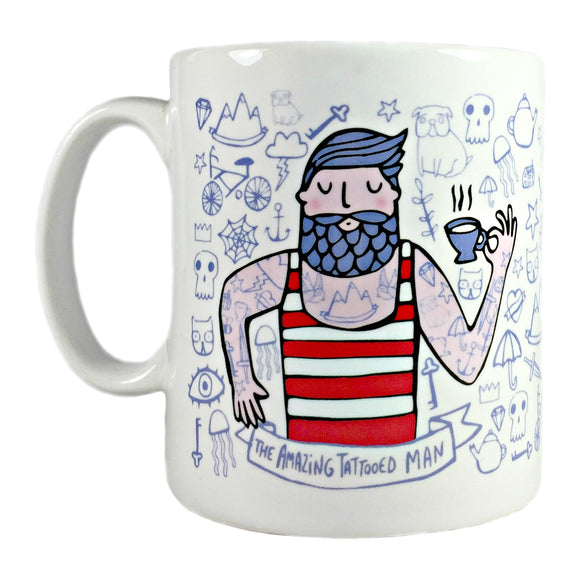 amazing tattooed man mug by katie abey