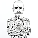 el famoso tattooed men art print