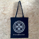 black stag and raven tote bag
