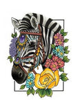 zebra with flowers art print by tattoo artist ashley luka