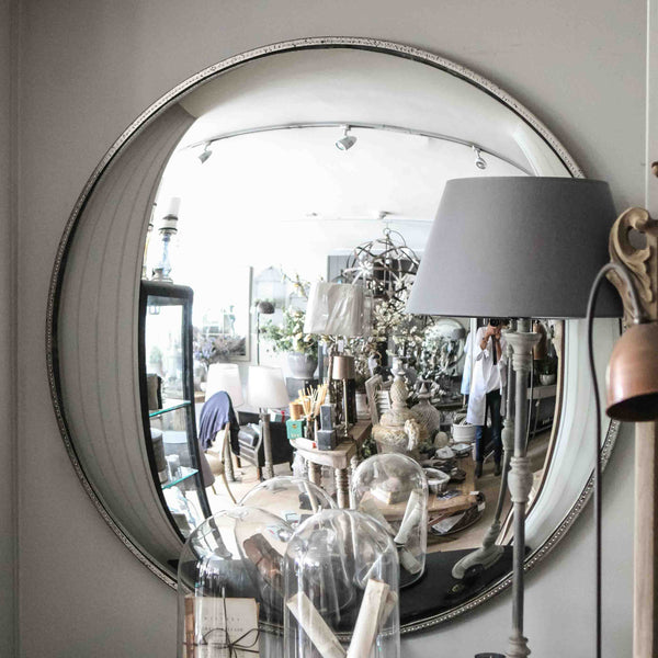 Round antiqued metal framed convex Mirror - Very large