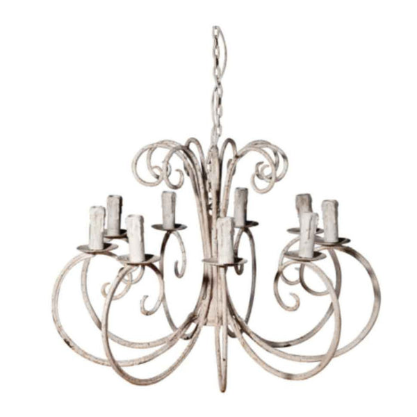 Rustic White Metal Chandelier