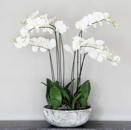 Faux Orchids in a Rustic Bowl