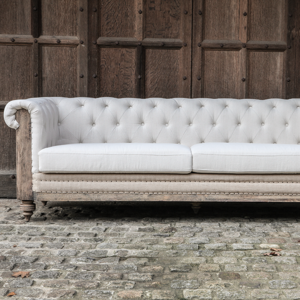 Deconstructed linen chesterfield sofa