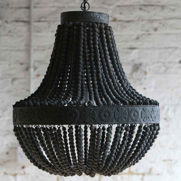 Charcoal Clay Beaded Chandelier