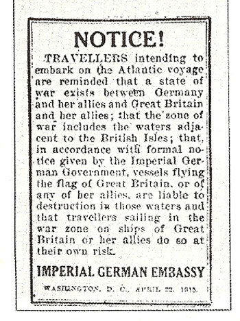 Notice from German Embassy in Washington 1915 - sailing on the RMS Lusitania