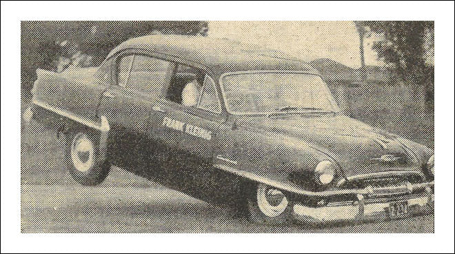1953 Plymouth flying in Sydney.