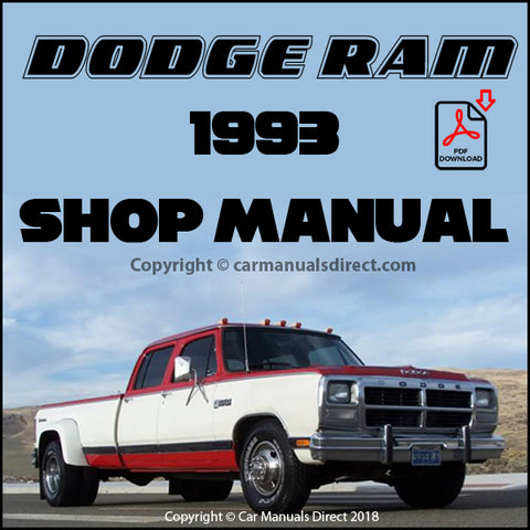 DODGE 1993 Ram Pick Up Shop Manual | carmanualsdirect