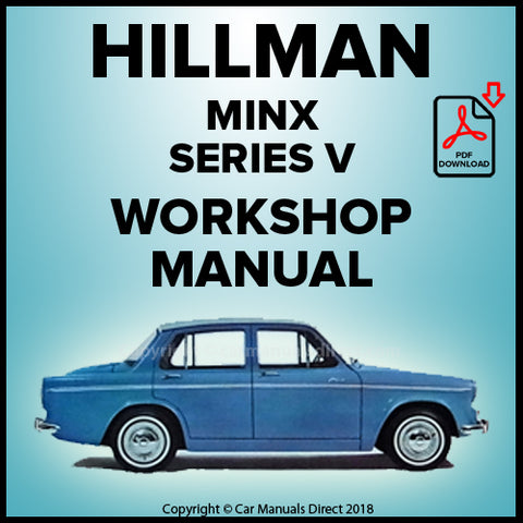Hillman Minx Saloon Series V Workshop Manual | carmanualsdirect