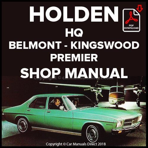 HOLDEN HQ Belmont, Kingswood, Premier 1971-1974 Shop Manual | carmanualsdirect