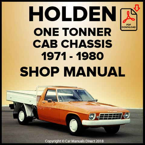 Holden One Tonner,  Cab Chassis Shop Manual | carmanualsdirect