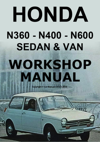 HONDA N360, N400, N600 Sedan and Van 1967-1973 Shop Manual | carmanualsdirect