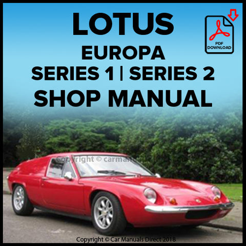 LOTUS Europa | Europa Type 46 | Europa Type 54 | Europa Type 65 | Europa Type 74 | Shop Manual | carmanualsdirect