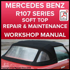 MERCEDES BENZ R107 Series 280SL, 300SL, 350SL, 380SL, 420SL, 450SL, 500SL, 560SL Convertible Roof Repair & Replace Instruction Manual