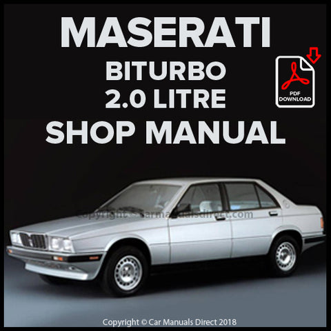 Maserati Biturbo Coupe, S Coupe, 2.0 Spyder, 2.0i Coupe, Si Coupe, 2.0i Spyder, 320, 420, 420 S, 420 i,  420 Si, 222, 2.24 v, 422 Workshop Manual | carmanualsdirect