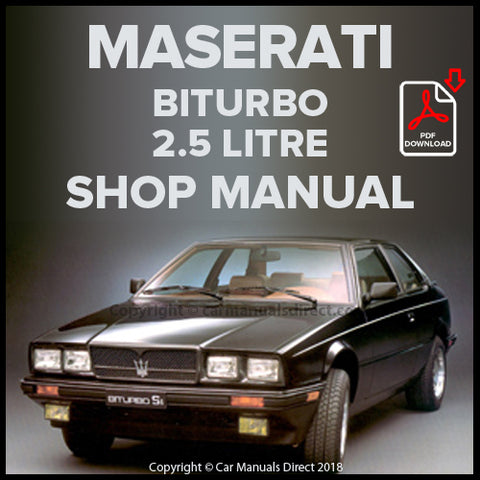 Maserati Biturbo SE, Spyder, 425 2.5 Litre Shop Manual | carmanualsdirect