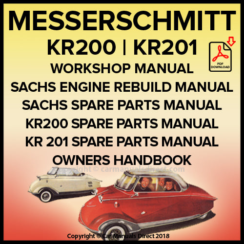 MESSERSCHMITT KR200 and KR201 Shop Manual and Spare Parts Manual | carmanualsdirect