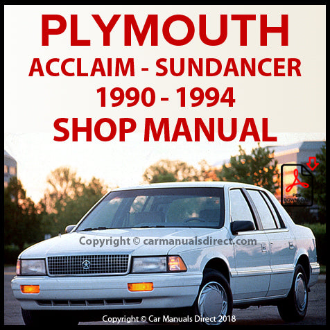 PLYMOUTH Acclaim and Sundancer 1990-1994 Shop Manual | carmanualsdirect