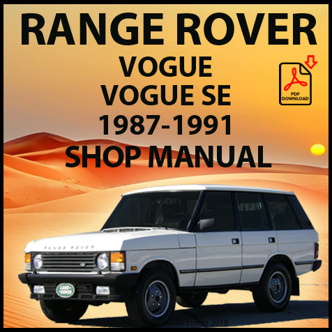 RANGE ROVER Classic 1987-91 Shop Manual | carmanualsdirect