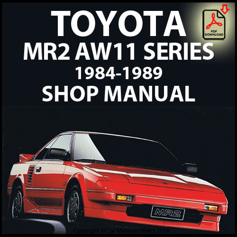 TOYOTA MR2 AW11 Mark 1 1984-1989 Shop Manual | carmanualsdirect