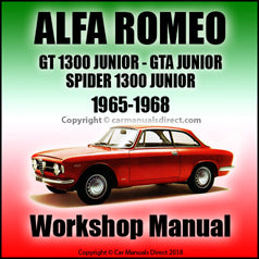 ALFA ROMEO GT 1300 Junior and GTA 1300 Junior 1965-1968 Workshop Manual