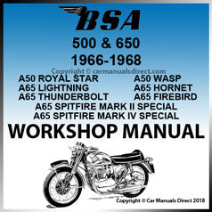 BSA 500 and 650 1966-1968 Workshop Manual | carmanualsdirect