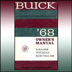 Buick LeSabre, Widcat and Electra 225 1968 Owners Handbook - FREE