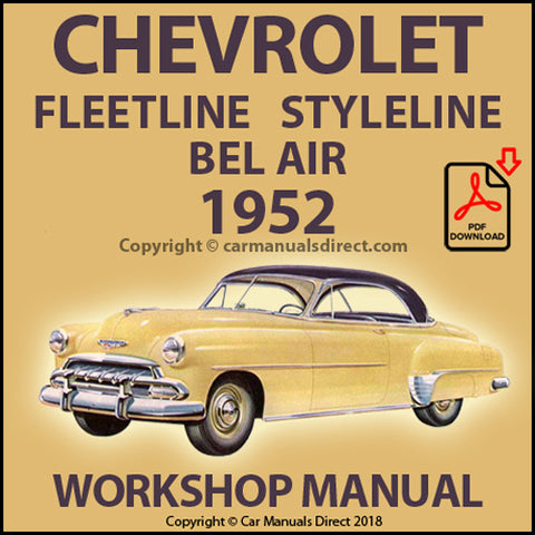 CHEVROLET Fleetline, Styleline, Bel Air 1952 Shop Manual | carmanualsdirect