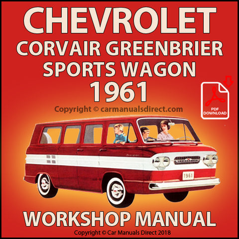 CHEVROLET 1961 Corvair Greenbrier De Luxe Sports Wagon Shop Manual | carmanualsdirect