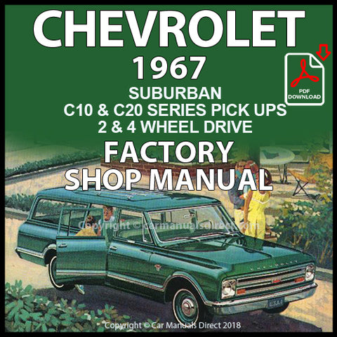CHEVROLET 1967 Suburban and Panel Van C10, C20 Series Shop Manual | carmanualsdirect