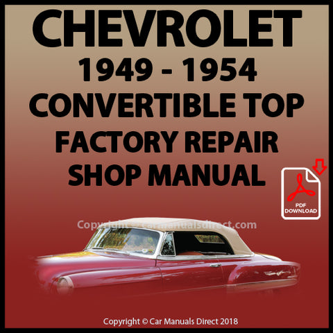 CHEVROLET 1949-1954 Convertible Top Factory Service and Repair Manual | carmanualsdirect