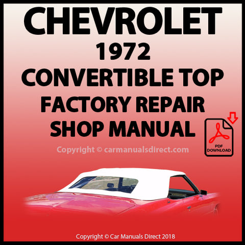 CHEVROLET 1972 Impala Convertible Top Factory Service and Repair Manual | carmanualsdirect