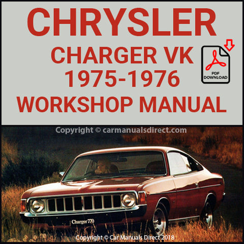 CHRYSLER 1975-76 CHARGER XL and 770 VK Series Workshop Manual | carmanualsdirect