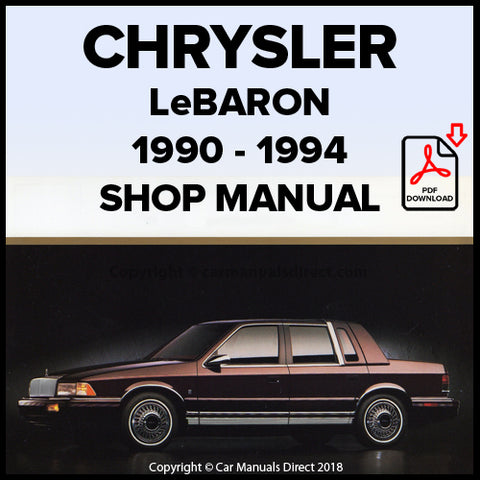 CHRYSLER 1990-1994 LeBaron Shop Manual | carmanualsdirect