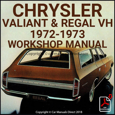 CHRYSLER 1972-1973 Valiant VH and Regal VH Series Workshop Manual | carmanualsdirect