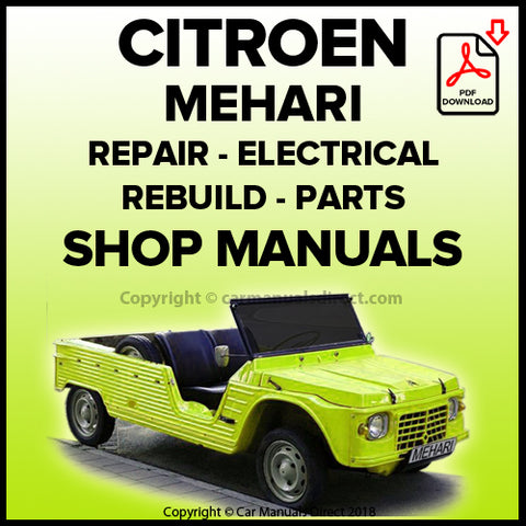 CITROEN 1963-1978 Mehari Workshop, Spare Parts, and Wiring Manuals | carmanualsdirect