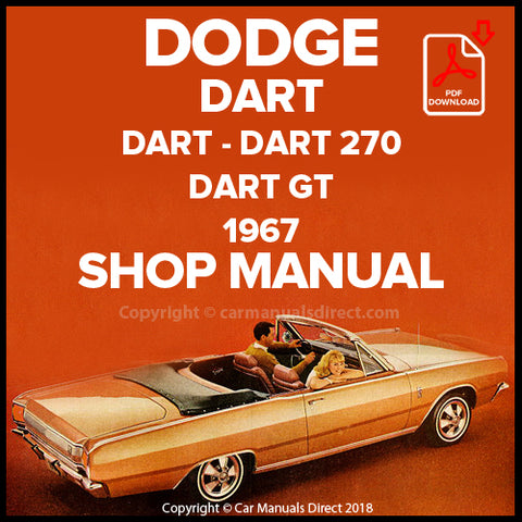 DODGE 1967 Dart, Dart 270, Dart GT Shop Manual | carmanualsdirect