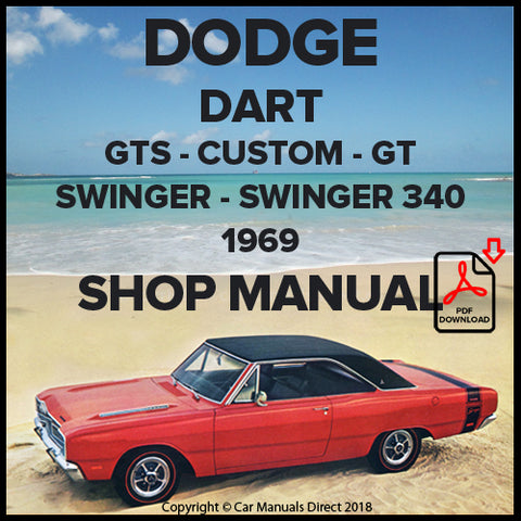 DODGE 1969 Dart, GTS, Custom, GT, Swinger, Swinger 340 Shop Manual | carmanualsdirect
