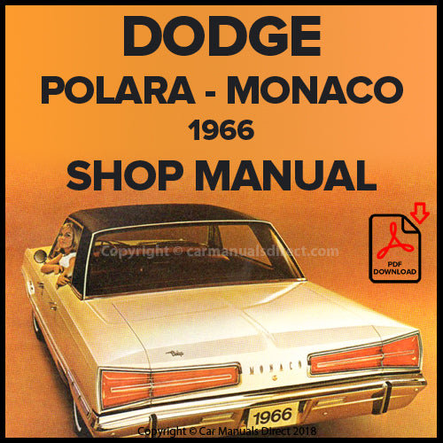 DODGE 1966 Polara and Monaco Shop Manual | carmanualsdirect