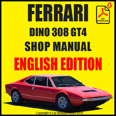 FERRARI 308 GT4 1973-1980 Shop Manual | carmanualsdirect