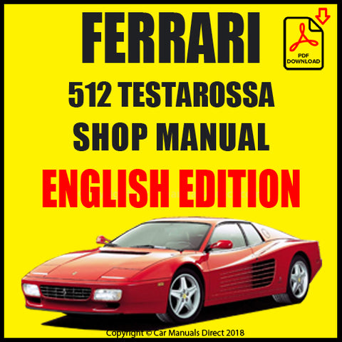 FERRARI 512 Testarossa 1992-1994 Shop Manual | carmanualsdirect
