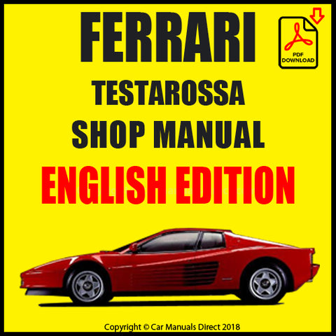 FERRARI Testarosa 1984-1991 Shop Manual | carmanualsdirect