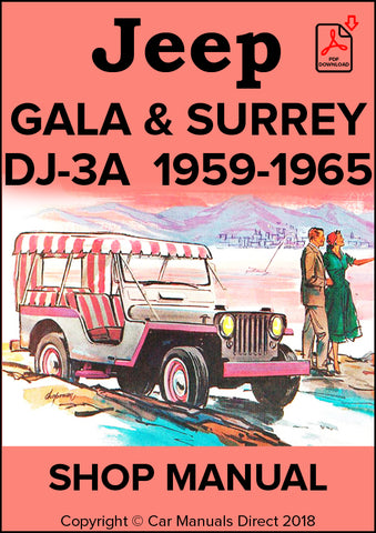 Jeep Universal DJ-3A Gala & Surrey Top 1959-1965 Shop Manual | carmanualsdirect