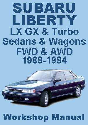 SUBARU Liberty Sedans & Wagons 1989-1994 Workshop Manual