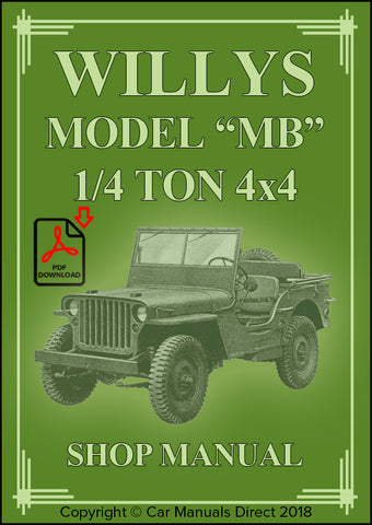 WILLYS Model MB 1/4 Ton 4x4 (Jeep) 1942-1945 Shop Manual | carmanualsdirect