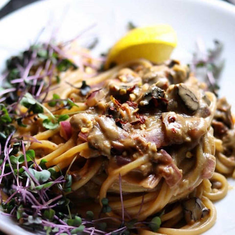 pasta with microgreens