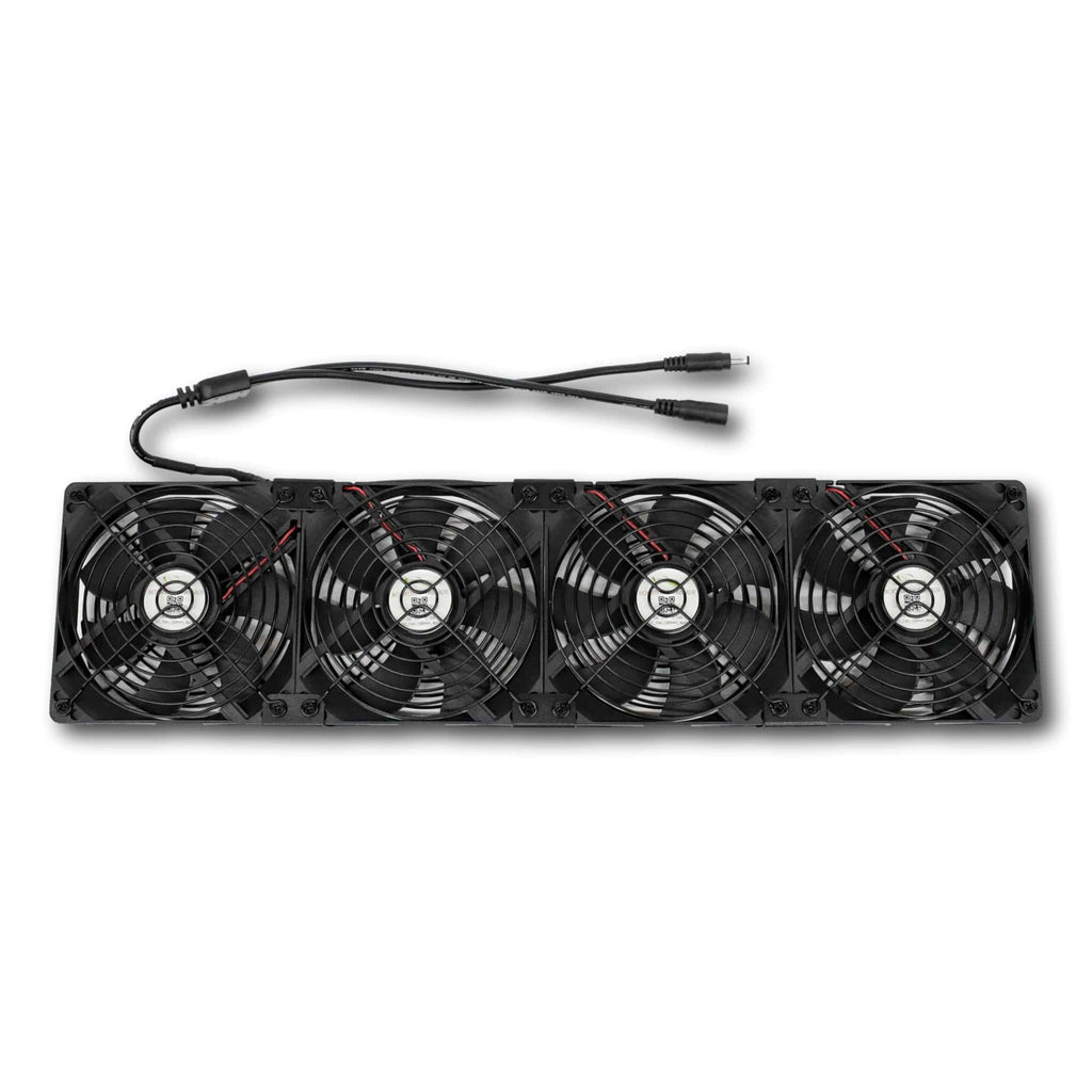 front view of 4 rack grow fans