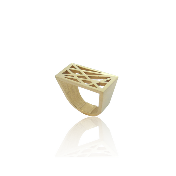 statement ring, grafische ring, geometrische ring, design sieraden, design ring, gouden design ring